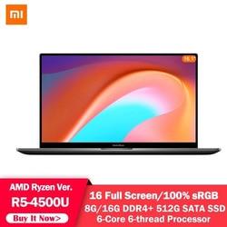 Xiaomi Mi RedmiBook Laptop 16 AMD Ryzen 4500U 8G / 16GB DDR4 512GB SSD Windows 10 Notebook 16.1Inch 1080P Screen Laptop Computer
