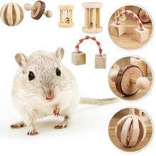 5pcs Wooden Hamster Chew Toys Teeth Care Natural Molar Ball Exercise Playing Bell Roller