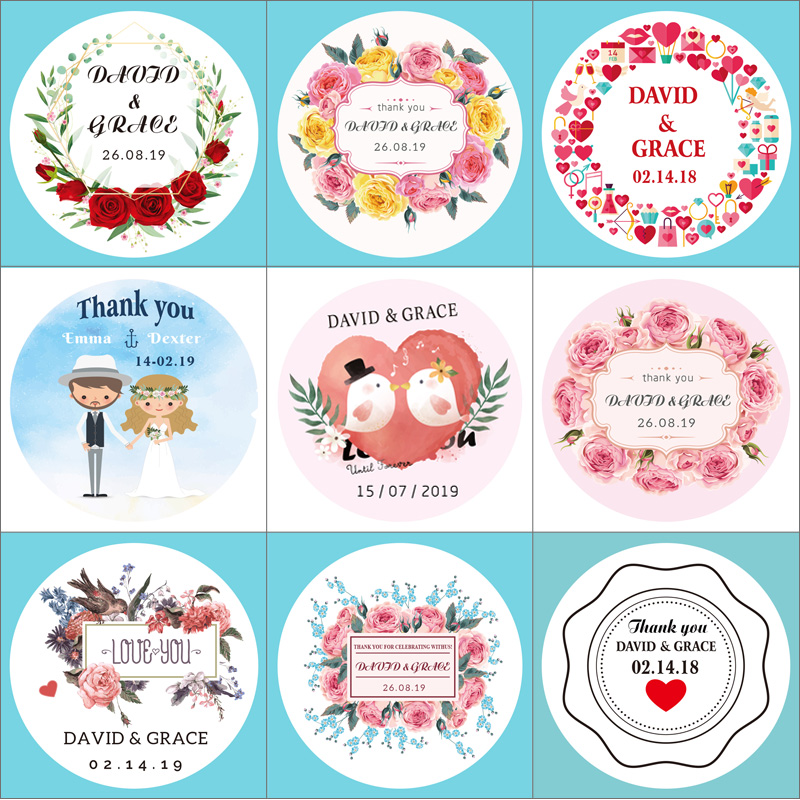 100PCS Round Wedding Sticker Sealing Sticker Gift Candy Box Label Self-adhesive Sticker Customize Your Name And Date