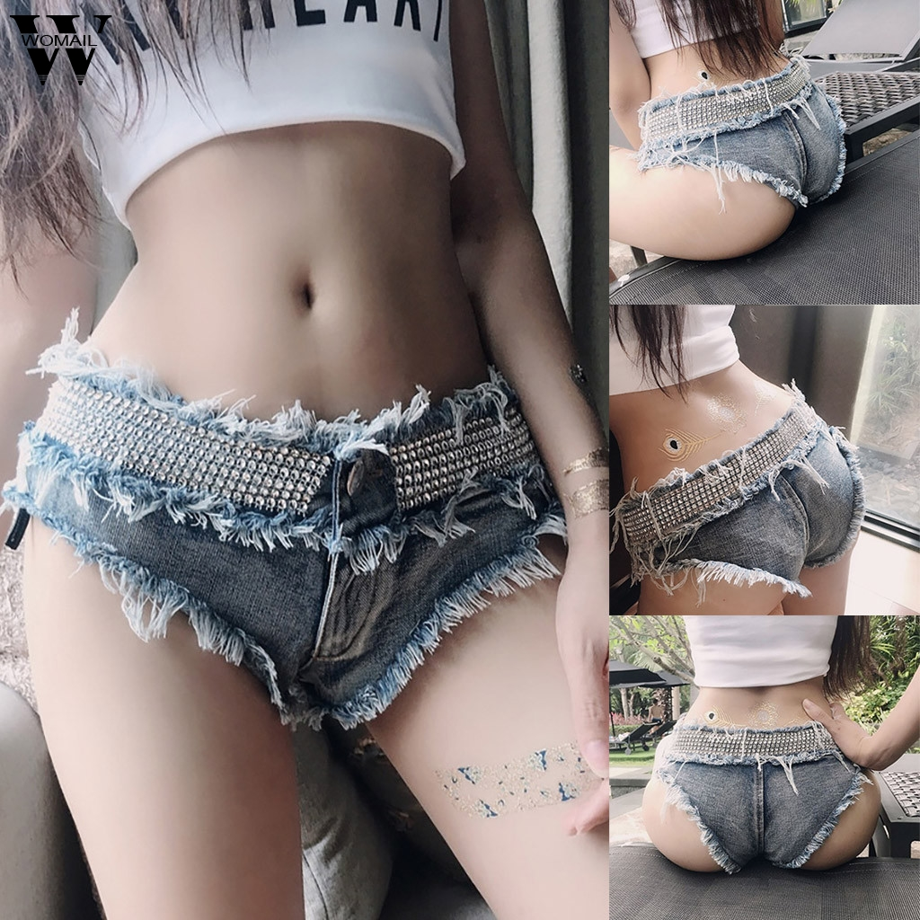 Womail Short Women Summer Sexy Micro Short Jean Feminino Denim Short Low Waist Thong Jeans Girl Blue Short Super Mini Short Club