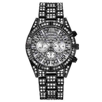 Iced Out Watches for Men Hip Hop Bling-ed Huge Round Dial Watch with Simulated Crystals 2020 Fashion