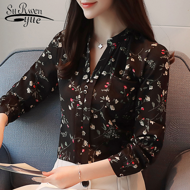 Long Sleeve Shirt Women Chiffon Blouse Print Floral Shirt 2021 Fashion Blouses and Shirts Blusas Feminine Blouses OL Style Z0001 1