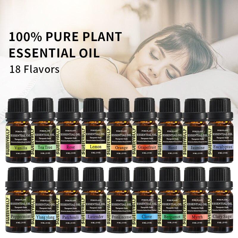 Sweetvally 10ml Jasmine Sandalwood Vanilla Essential Oil  Sets  For Aromatherapy Massage Spa Bath Skin Face Care