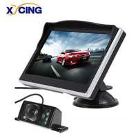 XYCING 5 inç TFT LCD renkli monitör araba dikiz monitör dijital HD ekran güneşlik monitör + 7 IR araba ışıkları dikiz kamera lcd color monitor rear view monitortft lcd color monitor -