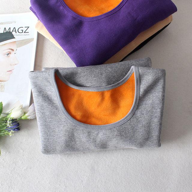 Autumn Winter Plus Velvet Long Sleeve T Shirt Women Thick Warm Cotton Tshirt Women Casual Tee Shirt Femme Slim Ladies Tops C5934 3