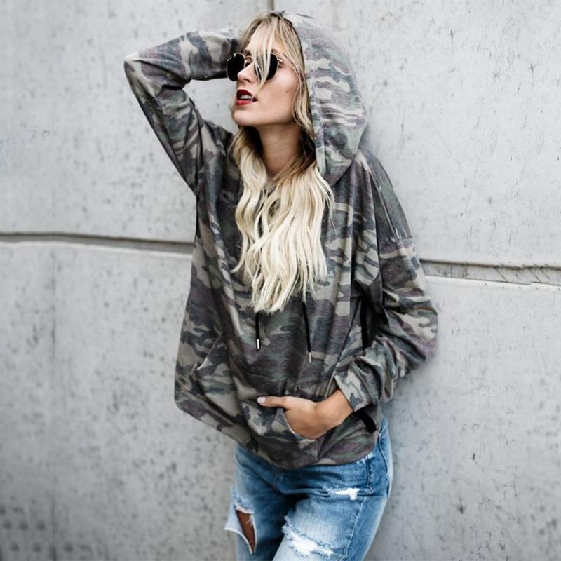 Women Camouflage Printed Sweatshirt Hoodies Tumblr Oversized Chic Casual Women Long Sleeve Autumn Winter Casual Hoodies