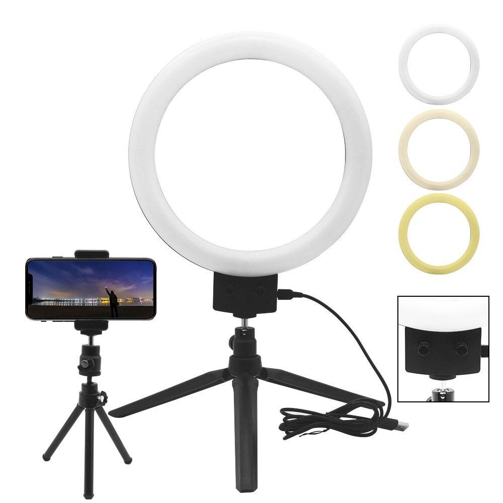 SPASH 7 cal USB pierścień u nas państwo lampy lampa pierścieniowa LED blat fotografowania z uchwytem na telefon Mini statyw do salonu zdjęcie fotografia studyjna