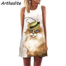 2019 Summer Sleeveless Vest Dress Mini Knee Above Cute Cat Print Casual Loose Beach Dress Women's Floral Print Dress Vestido недорого