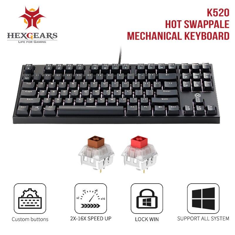 HEXGEARS K520 Mechanical Gaming Keyboard 87 Key Waterproof Kailh BOX Brown Red Switch Hot Swap Switch Mechanical Keyboard