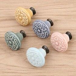 Набор из одной винтажной керамической дверной ручки для шкафа, ящика, шкафа, гардероба, мебели, выдвижная ручка