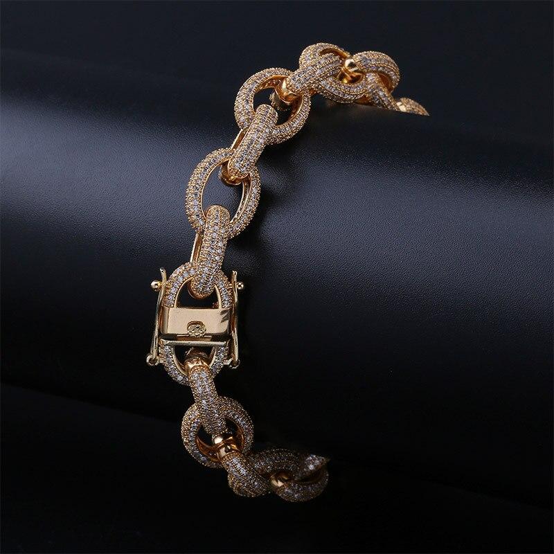 Mode Punk Tennis Bracelet bijoux Micro Pave CZ ovale argent or homard fermoir hommes Bracelets Hip Hop Bracelet pour hommes 7
