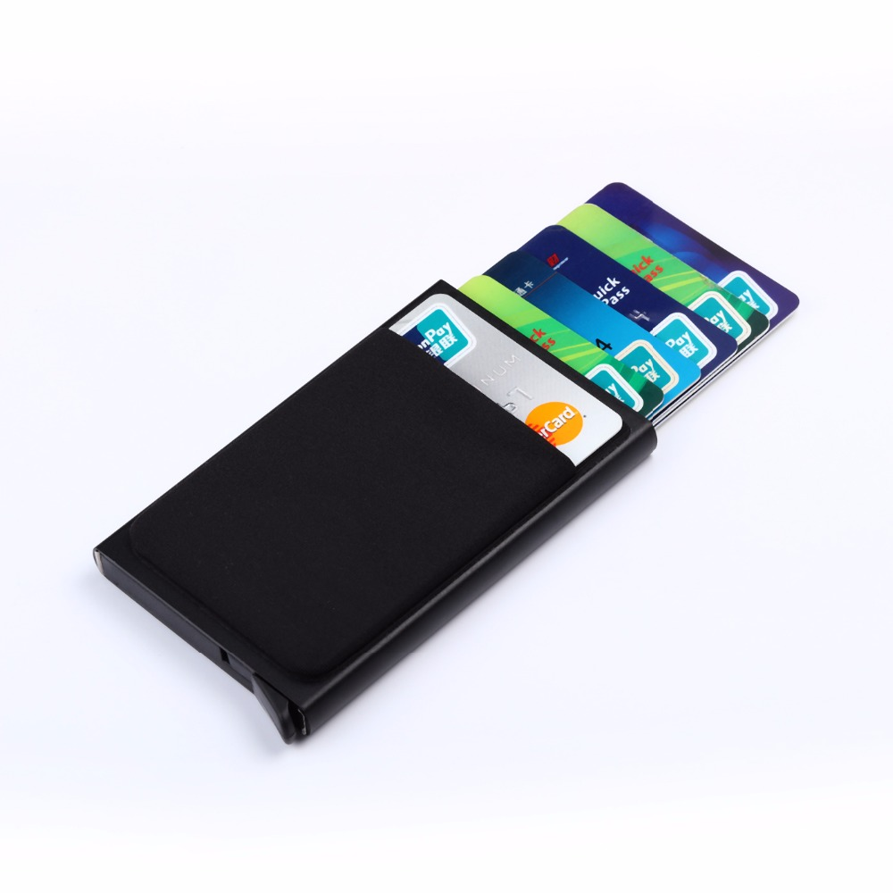BYCOBECY Rfid Smart Wallet Credit Card Holder Metal Thin Slim Men Wallets Pass Secret Pop Up Minimalist Wallet Small Black Purse
