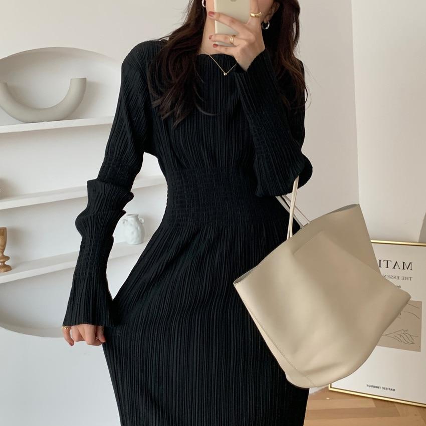 Hdb3013f0a3514327a39af4238d2c410fh - Autumn O-Neck Long Sleeves Pleated Black Midi Dress