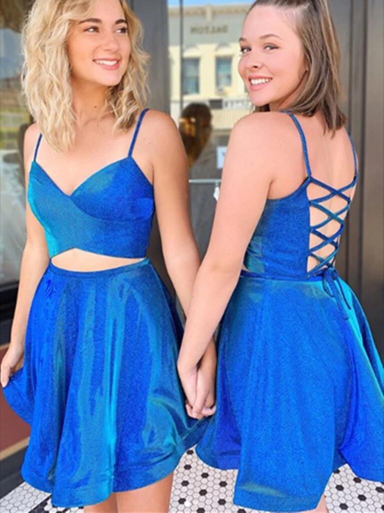 2020 Short Glitter Two Piece Graduation Party Dresses Spaghetti Straps Cocktail Homecoming Dresses vestido de formatura