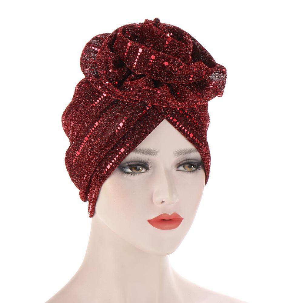 Купить шапка бини женская с блестками модный яркий цветочный головной