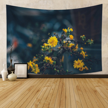 Wall Hanging Tapestry  Background Print  Black Wall Tapestry Flowers Scanery Wall Carpet  Dorm Decor for Bedroom Wall Home Decor wall hanging art decor corroded wall print tapestry