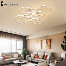 Nowości nowoczesne lampy sufitowe LED do salonu sypialnia jadalnia oprawy okrągłe pierścienie lampy sufitowe oprawy tanie tanio BLUE TIME CN (pochodzenie) 20 Metrów 10-15square Foyer Łóżko pokój Badania KİTCHEN 90-260 v Klin Black Aluminium