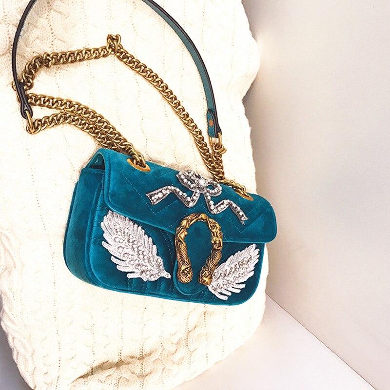 Mode chaîne épaule Messenger sacs luxe velours Sac à Main célèbre marque femmes Designer sacs à bandoulière dame Clucth GG Sac à Main-in Sacs à bandoulière from Baggages et sacs    2