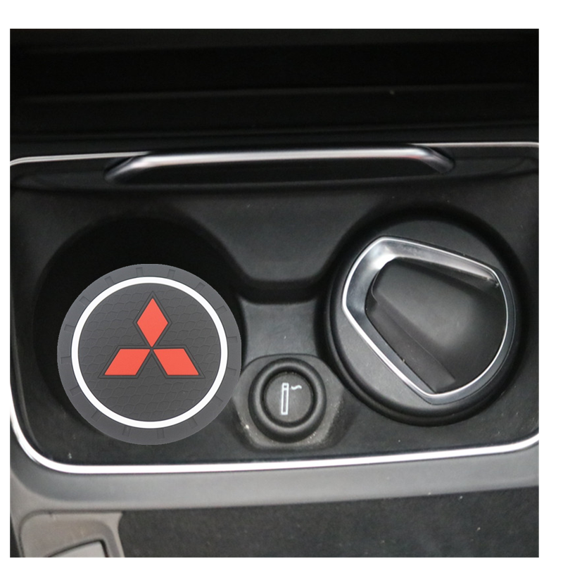 2PCS Car Water Cup Bottle Holder Anti-slip Pad Mat Silica Gel For Mitsubishi Asx Lancer Outlander Pajero Car Styling Accessories