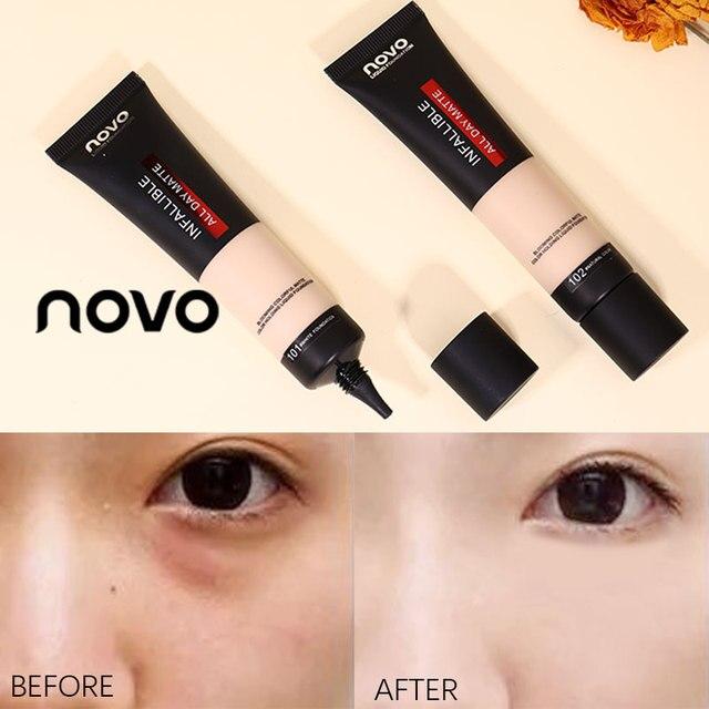 Face Liquid Foundation Soft Matte Concealer Primer Makeup Base Oil Control Invisible Pores Facial Cream Brighten Skin Cosmetics 4