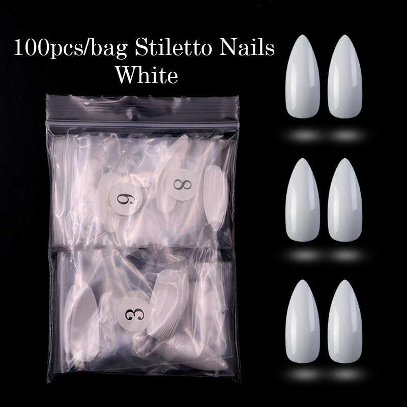 100 PCS/OPP สีขาว/ธรรมชาติ/เคล็ดลับเล็บยาว Stiletto เล็บปลอมเต็มรูปแบบ Flase เล็บประดิษฐ์กดบนเล็บสำหรับผู้หญิง DIY