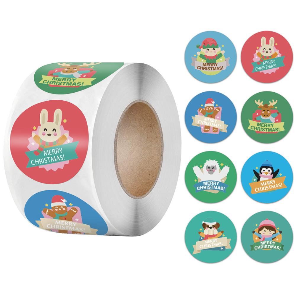 500pcs/roll Cute Cartoon Stickers Christmas Gift Decoration Packaging Stationery Merry Christmas Seal Label Sticker-3