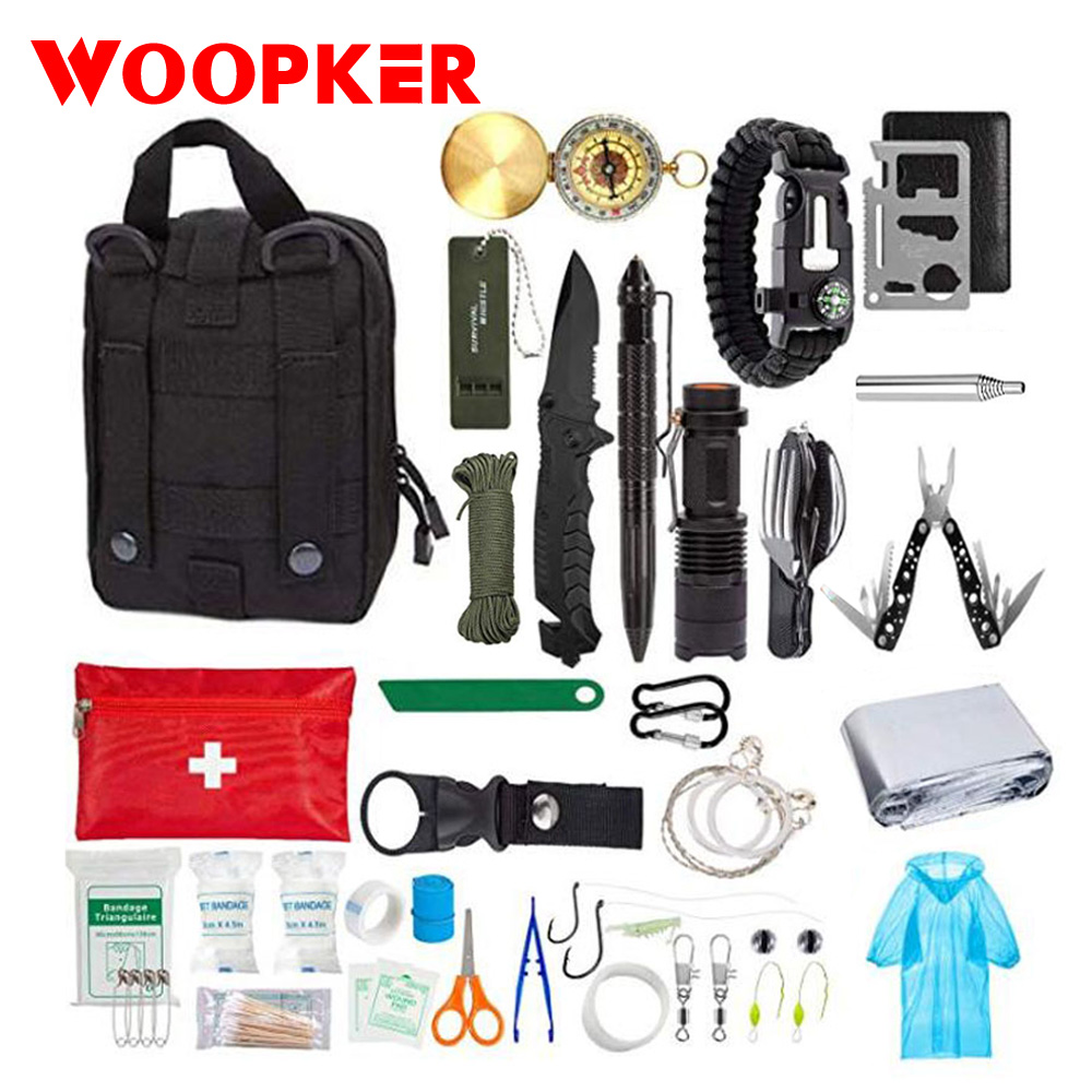 47Pcs/set Emergency Survival Kit SOS Survival First Aid Kit Tactical Tools Flashlight With Pouch