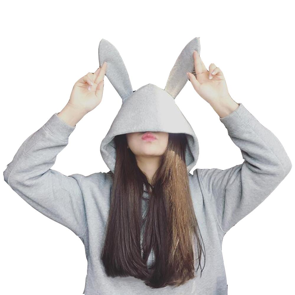 2019 Winter Oversize Hoodies Women Black Gray Cute Rabbit Hoodies For Teen Girls Sweatshirt With Ears Streetwear Sudaderas Mujer
