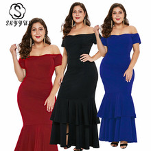 Skyyue Off The Shoulder Short Sleeve Robe De Soiree Formal Gowns Boat Neck Plus Size Evening Dress Women Party Dresses 2019 T010