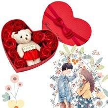 Valentine's Day 10 Flowers Soap Flower Gift Rose Box Bears Bouquet Festival Gift Bears Bouquet Festival Gift Товары Для Дома#T2
