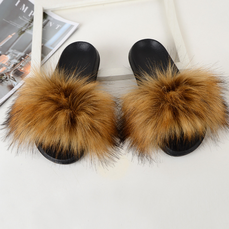 Faux Fur Slippers House Furry Slides Home Summer Women Shoes Fluffy Plush Ladies Sandals Flip Flops Flat Outdoor Mule Big Size