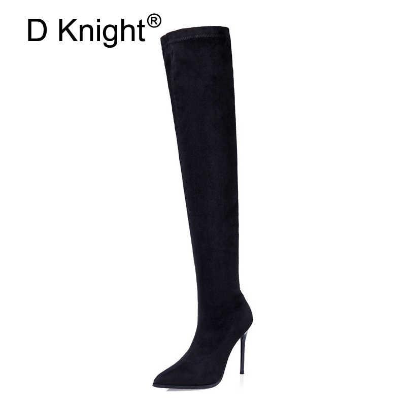 Femmes bottes mince Sexy sur le genou bottes mode Lycra noir cuissardes femme hiver automne bottes longues Botas chaussures femme