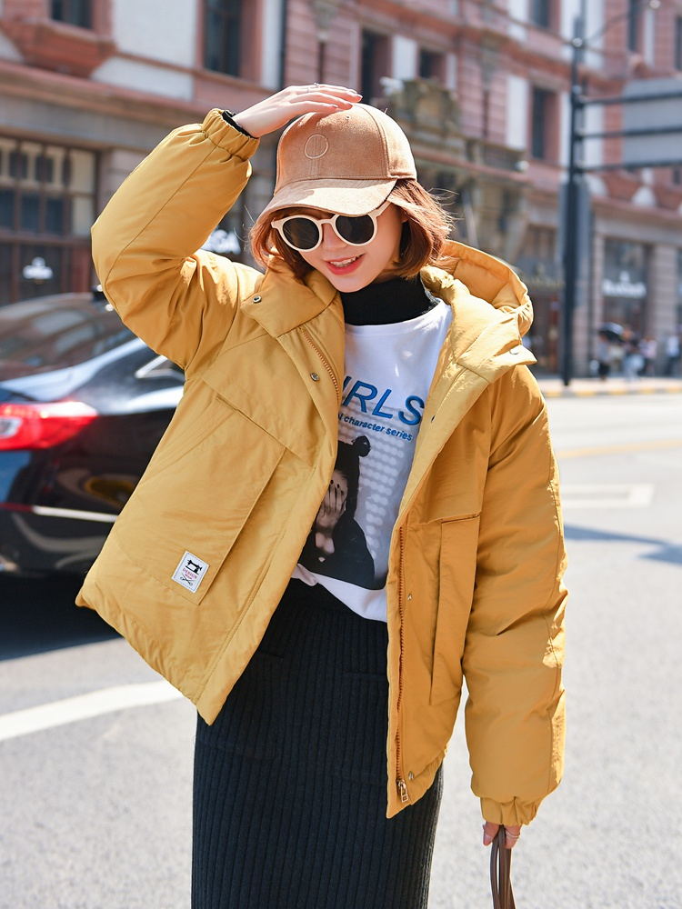 Taotrees Winter Female Casual Loose Warm Coat Clothing Solid Color Long Sleeve Zippers Pocketed Oversize   Parkas