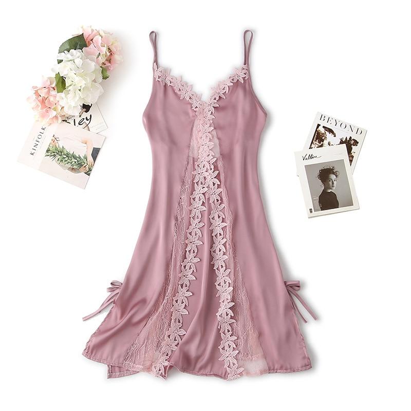 Women Night Dress Sleep Wear Babydolls Nightwear Nightgown Lace Applique Nightdress Lady Mini Dress Nighties Dress Night Gown