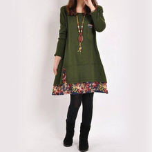 Plus Size Women Dresses Clothing Long Sleeve Loose Splice Sweet Style Clothes for Flower Dress Winter Clothe