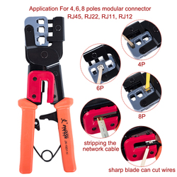 3-In-1 Crimping Tool Pass Through Cutter for RJ22/4P RJ11/6P RJ45/8P Ethernet Network LAN Cable Plier Cutter Peeling Shear Tools