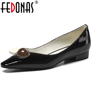 FEDONAS New Fashion Women Cow Patent Leather Shoes Woman Thick Heels Pumps Point Toe Summer Elegant Basic 2020 Shoes Woman