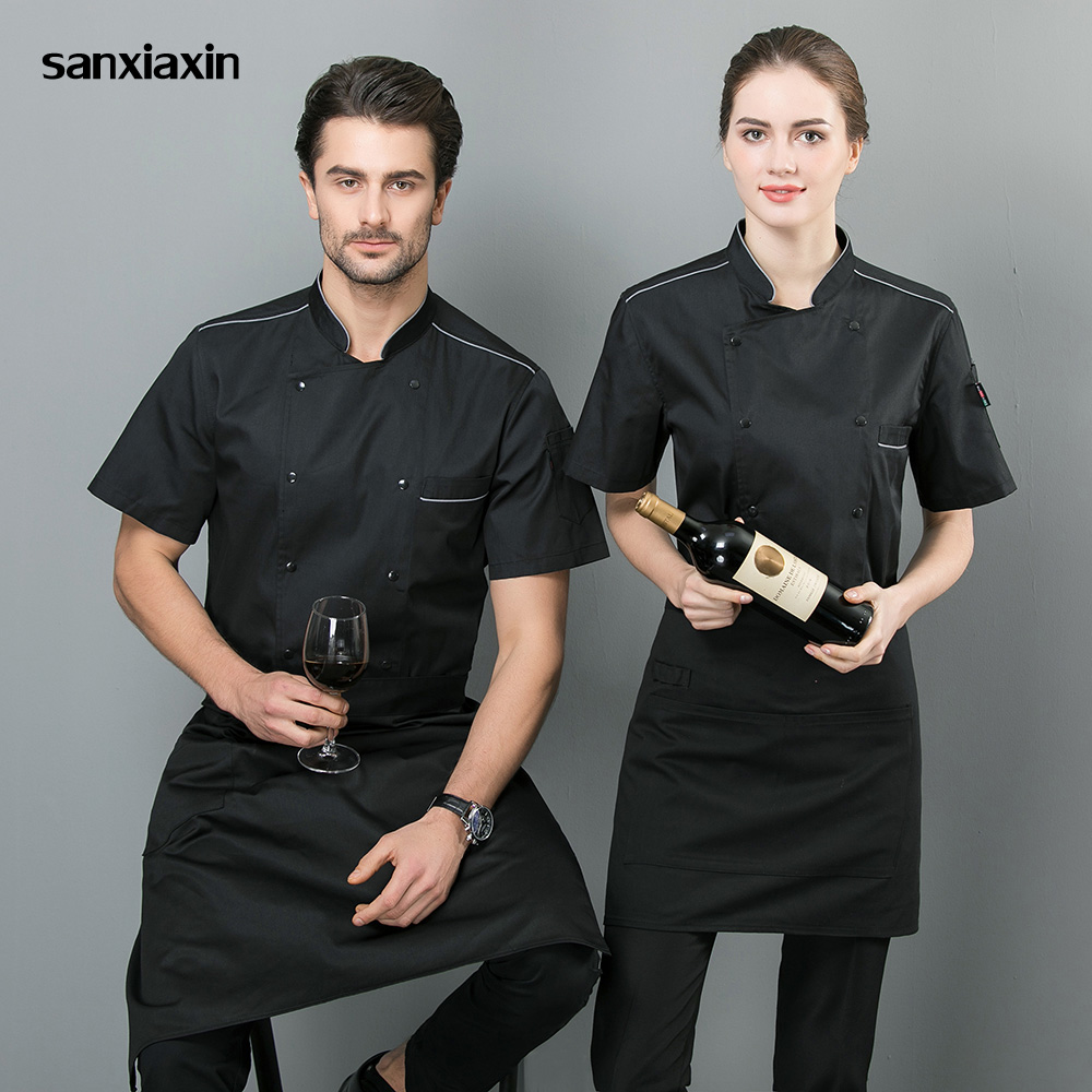 Sanxaixin New Short Sleeved Cooker Work Shirt Double Breasted Restaurant Kitchen Chef Jacket Catering Waiter Waitress  Wholesale