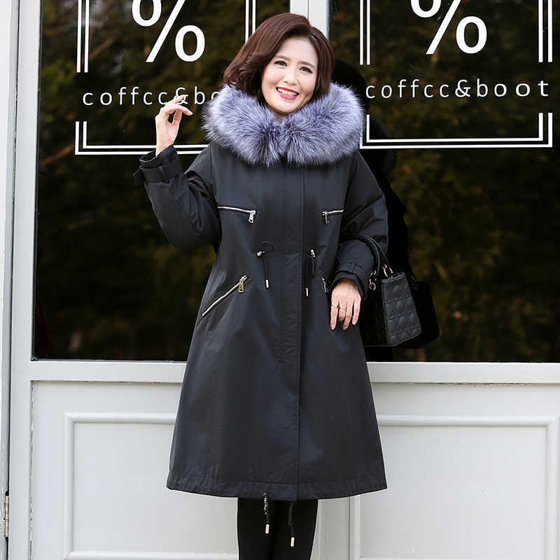 New Parkas Women 2019 Thick Long Jackets Hood with Fake Fake Winter Autumn Middle-aged Ladies Coats Plus Over Size Outerwear
