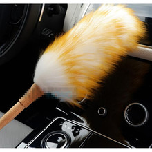 Car Detailing Cleaning Pure Wool Bamboo Handle Brush Soft Microfiber Cleaner    Duster Dust Cleaner Home Auto Car Cleaning Tools