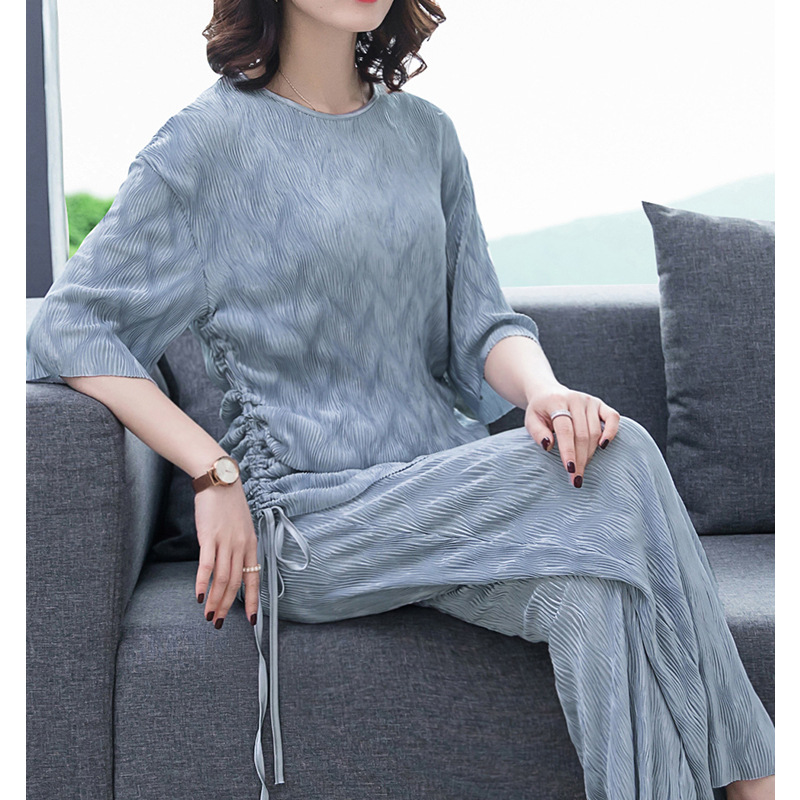 Kuotaitai Large Size Very Fairy Of Loose Pants Set Pants Spring Two-Piece Set Western Style Elegant Nobility Fashion Summer Wear