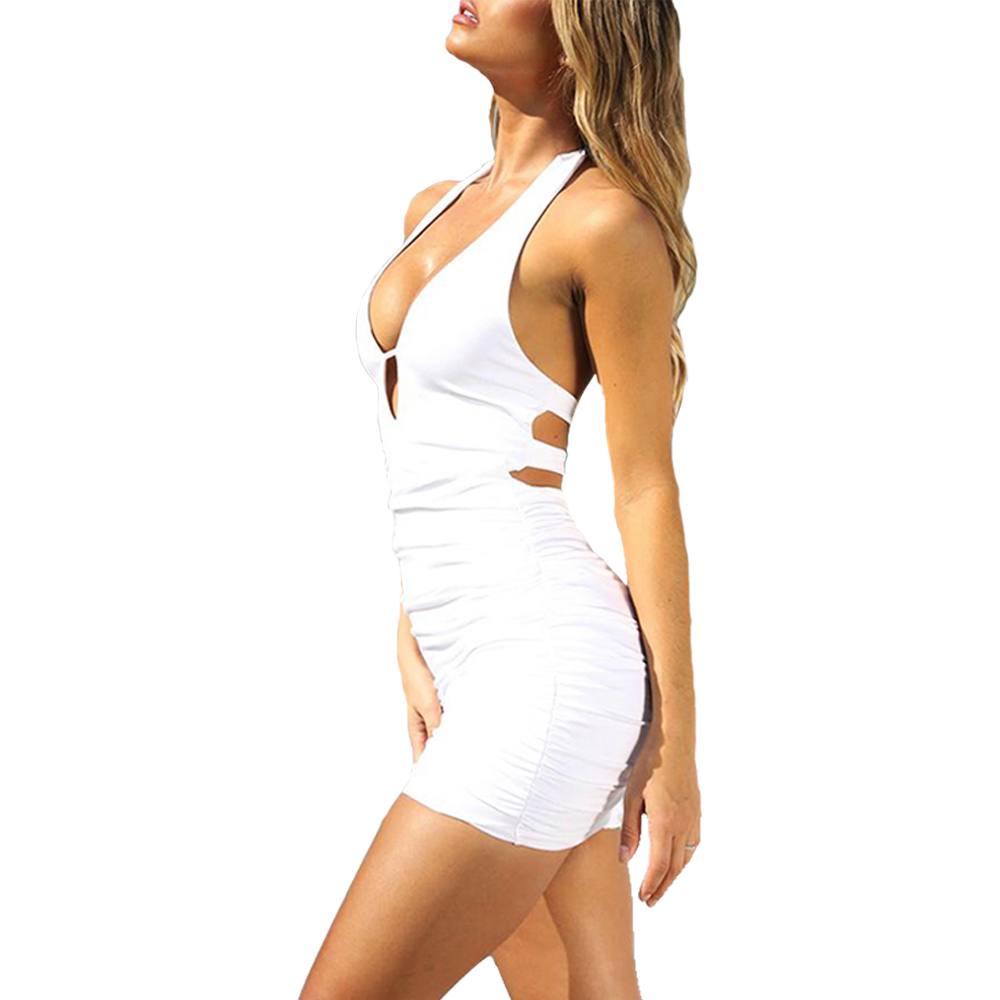 Summer <font><b>Women</b></font> <font><b>Dress</b></font> Sheath <font><b>Sexy</b></font> Solid Erotic Club Tight Sleeveless Off Shoulder Halter Tights Slim Vestido <font><b>Mini</b></font> <font><b>Dresses</b></font> Clothes image