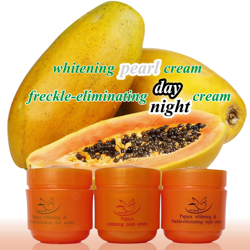 FEIQUE Papaya whitening cream for face anti freckle day cream+night cream+pearl