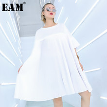 [EAM] 2019 New Spring Summer Round Neck Three-quarter Sleeve White Brief Loos Pleated Big Size Dress Women Fashion Tide JQ410(China)