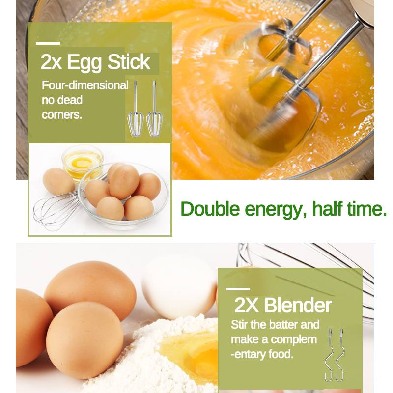 Electric Hand Mixer and Egg Beater with 7 Speed Control Dough and 2 Egg Sticks