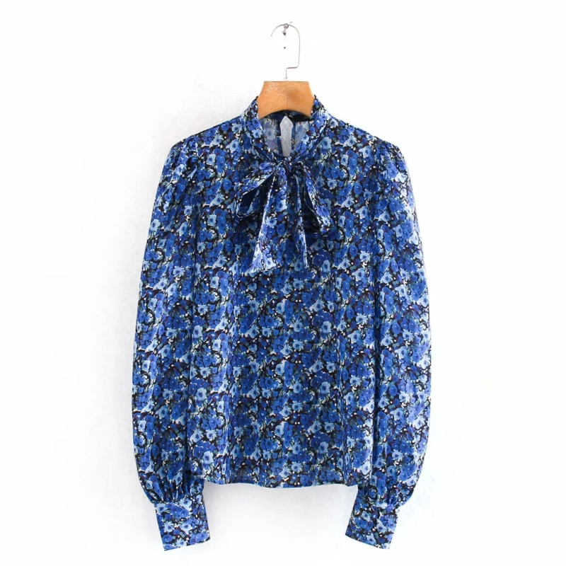 2020 Englan Style Women Bow Collar Floral Print Casual Smock Blouse Shirts Women Puff Sleeve Chic Chemise Femininas Tops LS6153