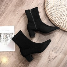 Ankle Boots For Women High Heels Ladies Elegant Black Winter 2019 New Fashion Slip On Autumn