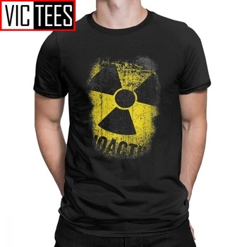 Men T-Shirts Chernobyl Lets Get Radioactive Novelty Cotton Tee Nuclear Radiation Russia T Shirts Clothing Summer