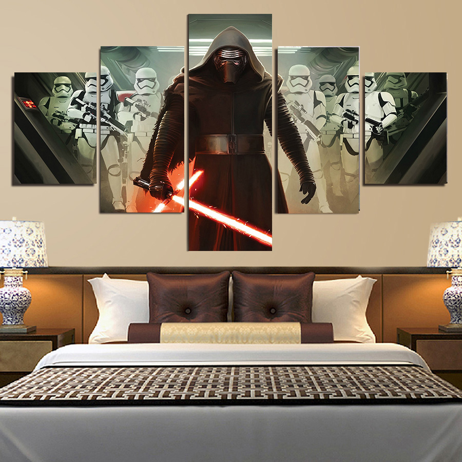 Wall Painting Frame Modular Pictures Star Wars Canvas 5 Piece Wall Art HD Prints Movie Poster Modern Living Room Wall Art Decor image