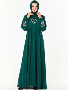 Image 4 - Повседневное женское Платье макси с вышивкой в исламском стиле, кафтан плюс, винтажные свободные молитвенные платья, одежда из Турции, халат, Новинка